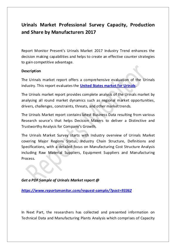 Machinery and Equipments Urinals Market Professional Survey Capacity, Produ