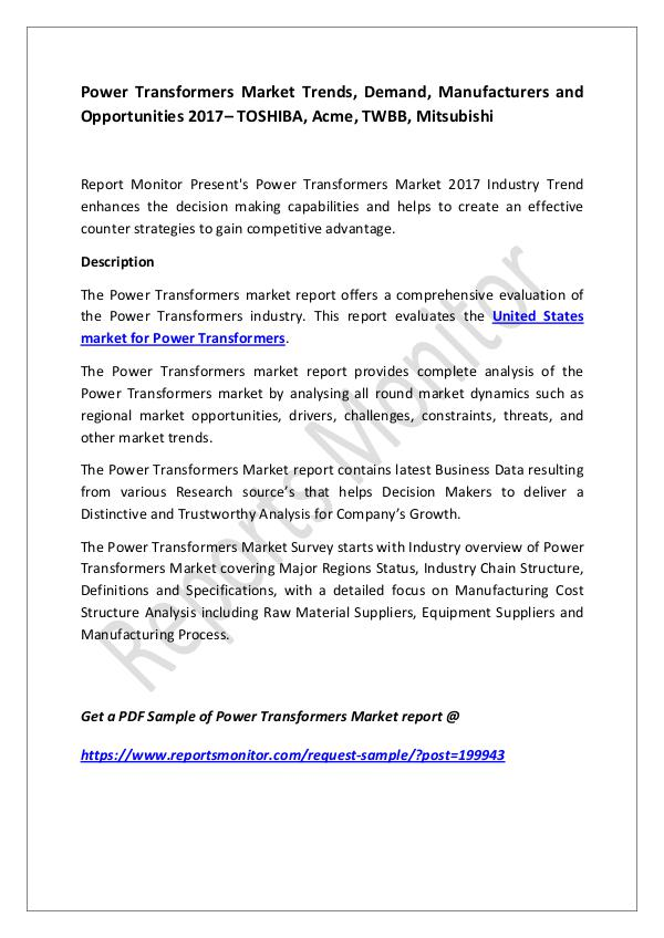 Power Transformers Market Trends, Demand, Manufact