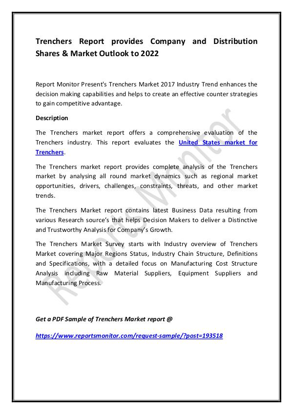 Trenchers Report provides Company and Distribution