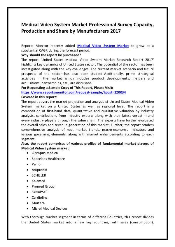 Medical Video System Market Professional Survey Ca