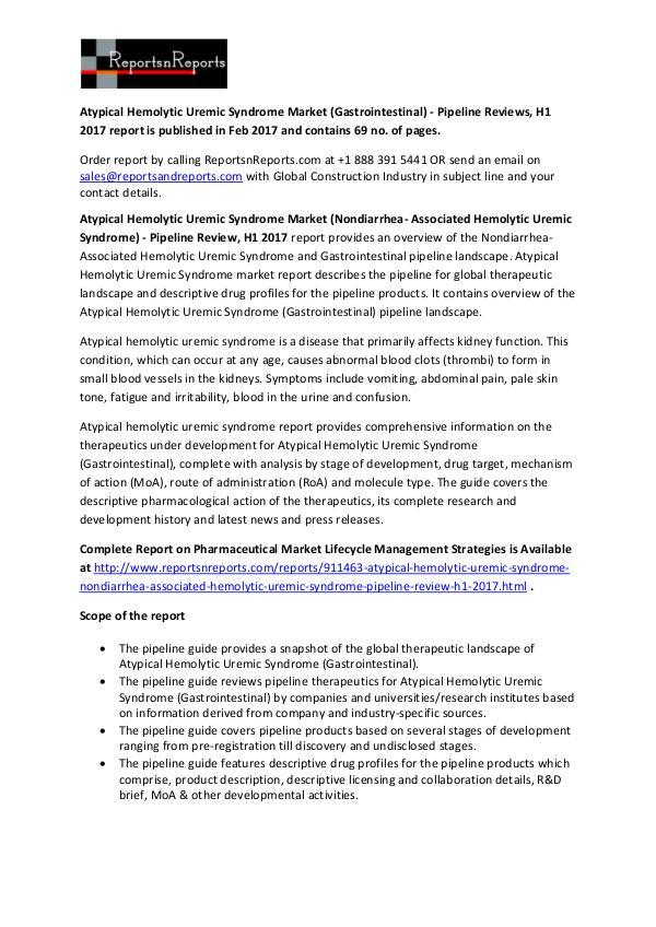 Atypical Hemolytic Uremic Syndrome Market Pipeline Report Atypical Hemolytic Uremic Syndrome Market (Gastroi