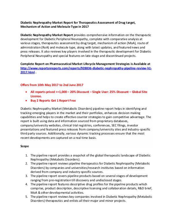 Diabetic Nephropathy Market Pipeline Reviews H1 2017 Diabetic Nephropathy Market - Pipeline Review, H1