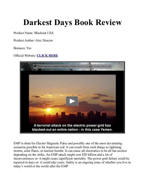 Darkest Days Book PDF / Darkest Days Survival Book The Darkest Days Free PDF Download