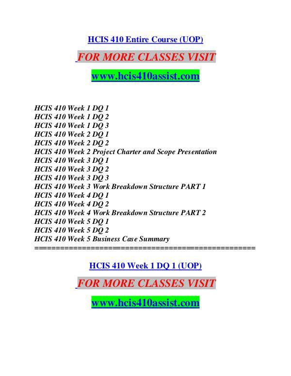 HCIS 410 ASSIST  MotivatedMinds/hcis410assist.com HCIS 410 ASSIST  MotivatedMinds/hcis410assist.com
