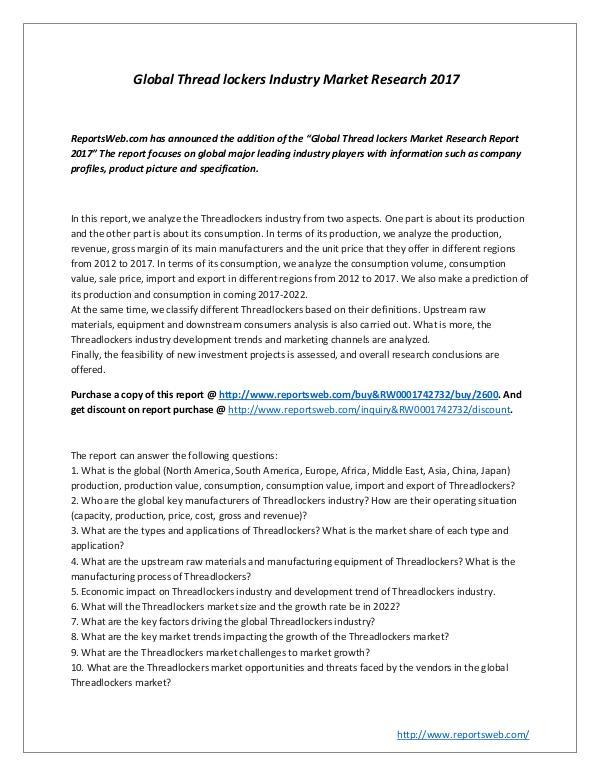 Global Threadlockers Industry Market Research 2017