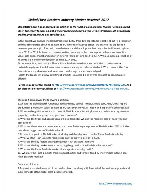 Global Flash Brackets Industry Market Research 201