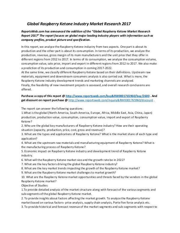 Global Raspberry Ketone Industry Market Research 2