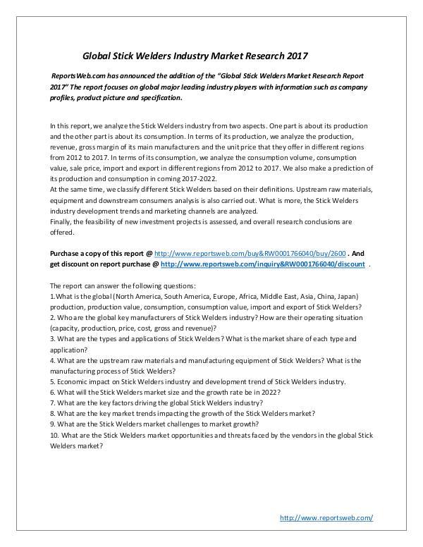 Global Stick Welders Industry Market Research 2017