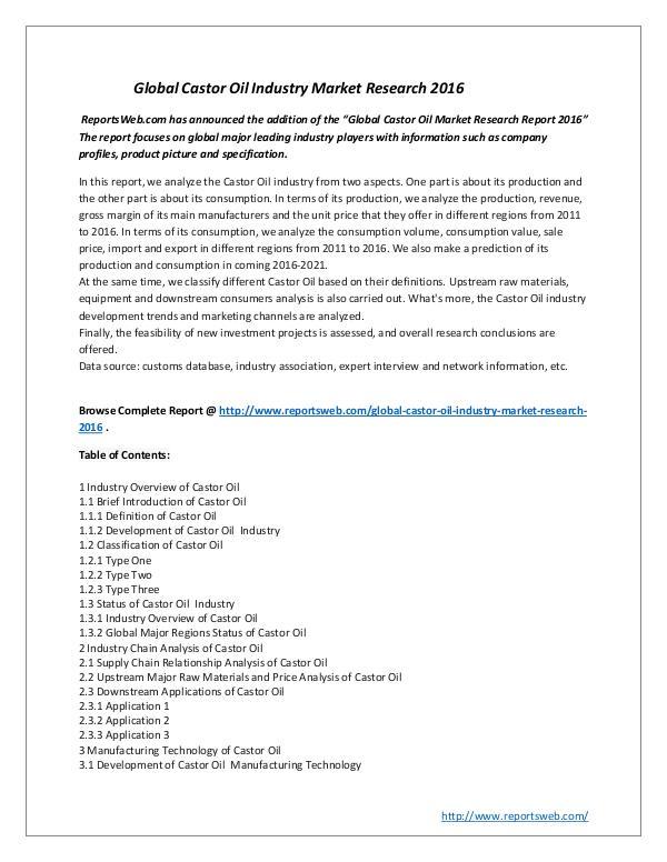 Global Castor Oil Industry Market Research 2016