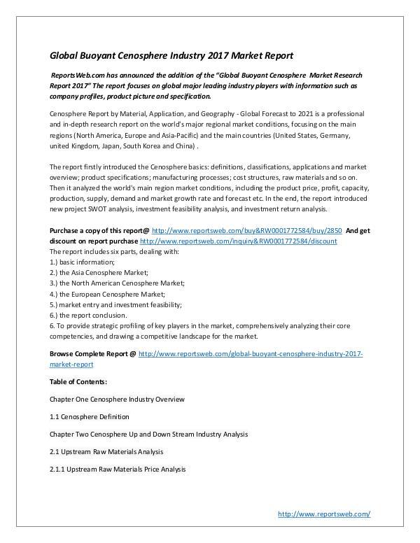 Global Buoyant Cenosphere Industry 2017 Market Rep