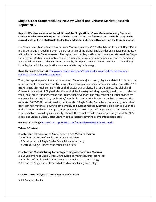 Single Girder Crane Modules Industry Global and Ch