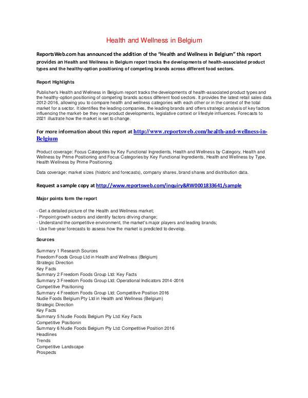 Market Studies 2Health and Wellness in Belgium