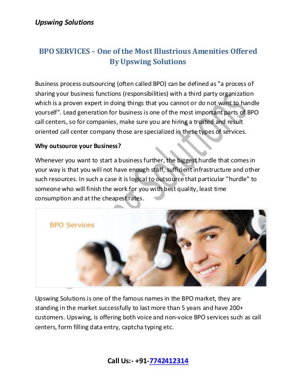 BPO SERVICES – One of the Most Illustrious Amenities Offered By Upswi BPO SERVICES – One of the Most Illustrious Ameniti