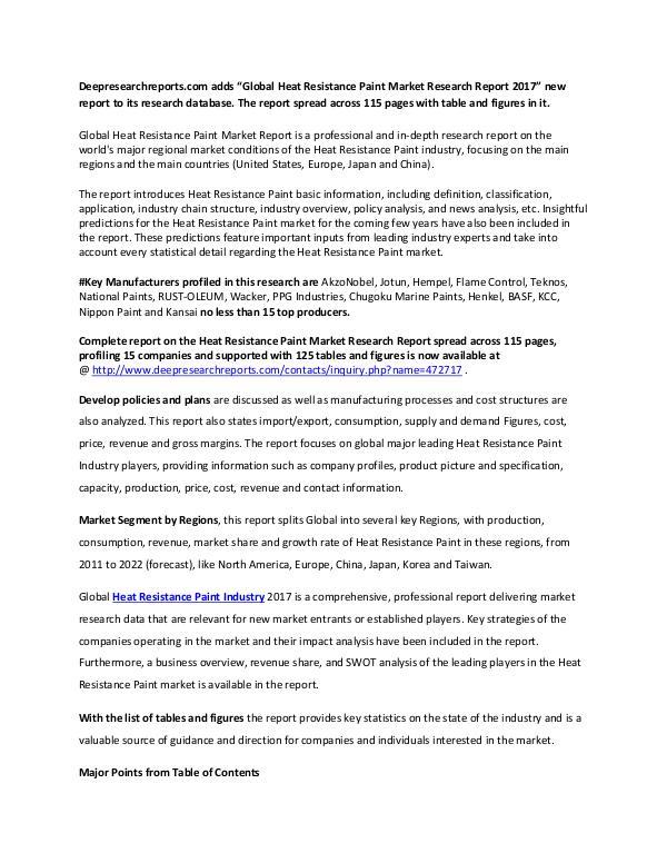 Heat Resistance Paint Industry 2017 Market Research Report Global Heat Resistance Paint Market