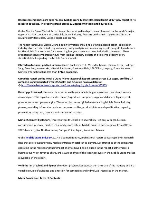 Mobile Crane Industry 2017-2022 Market Trends Demands Research Report Global Mobile Crane Market