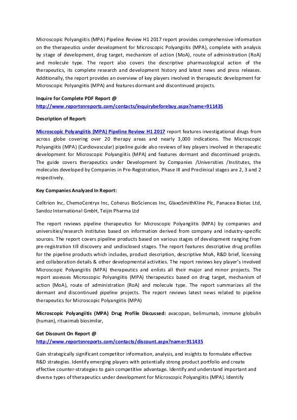 Microscopic Polyangiitis (MPA) Pipeline Research H1 2017 Microscopic Polyangiitis (MPA) Pipeline Review H1