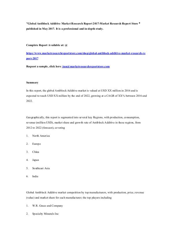 Global Antiblock Additive Market Research Report 2