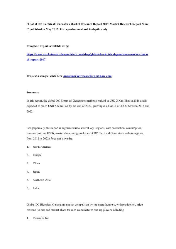 Global DC Electrical Generators Market Research