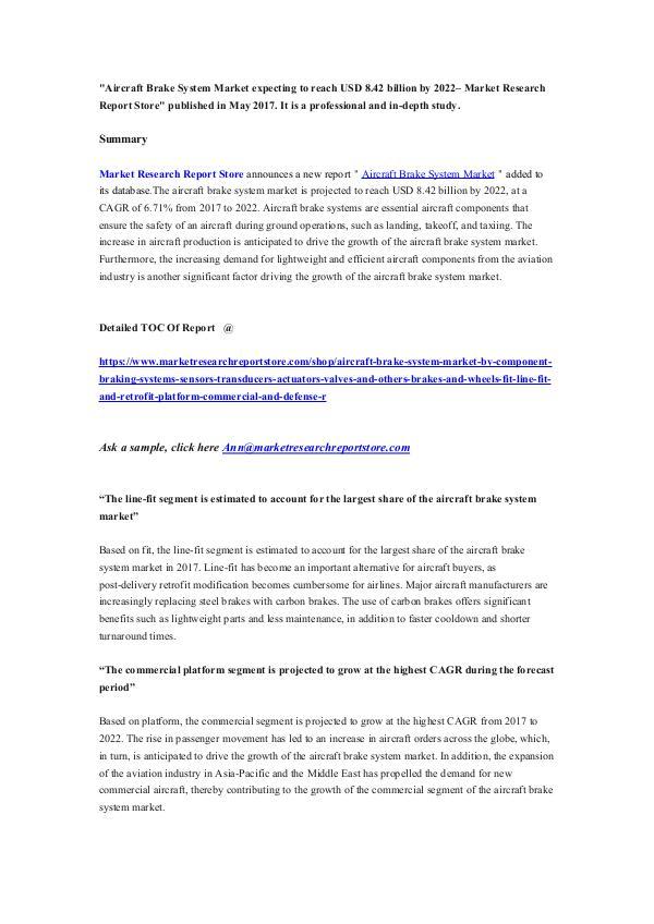 Aircraft Brake System Market