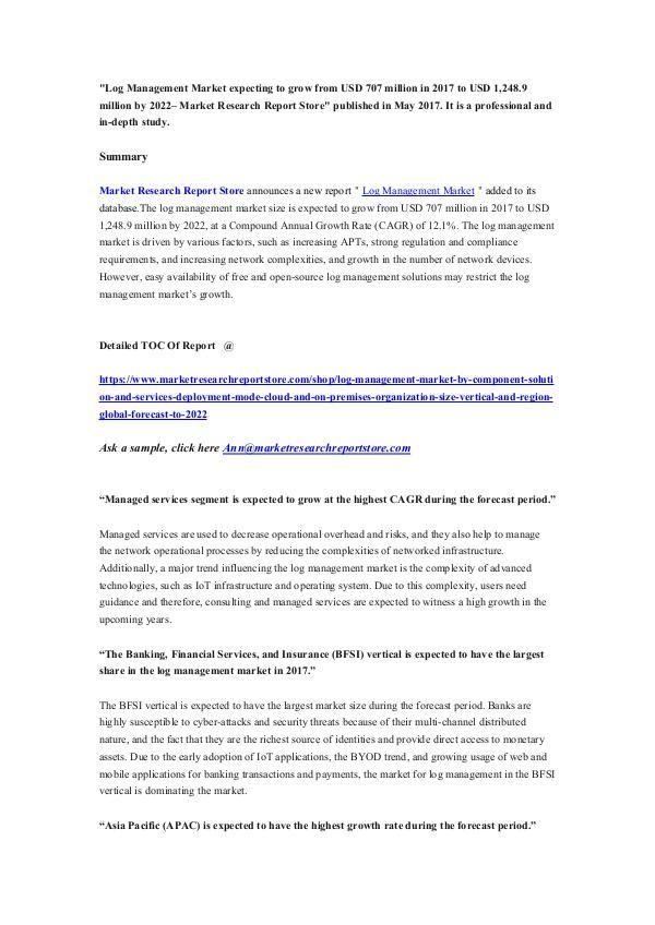 Market Research Report Store Log Management Market