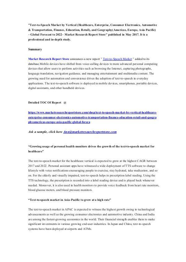 Market Research Report Store Text-to-Speech Market
