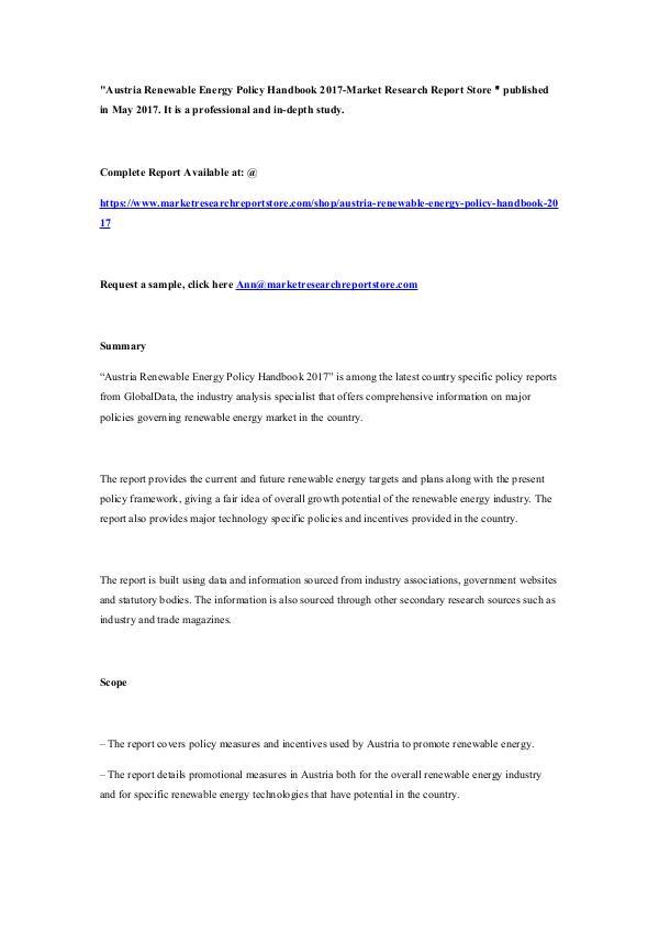 Austria Renewable Energy Policy Handbook 2017-Mark