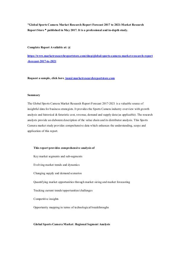 Global Sports Camera Market Research Report Foreca
