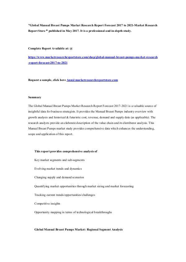 Global Manual Breast Pumps Market Research Report