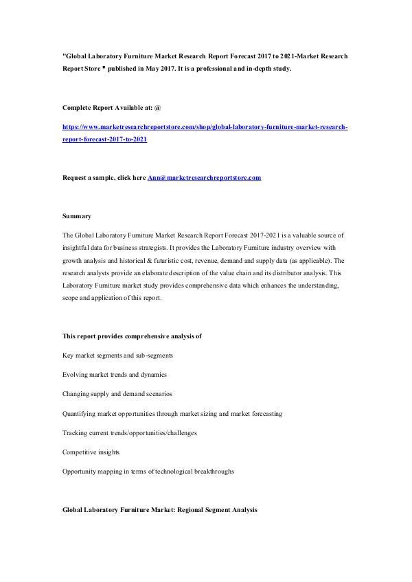 Global Laboratory Furniture Market Research Report