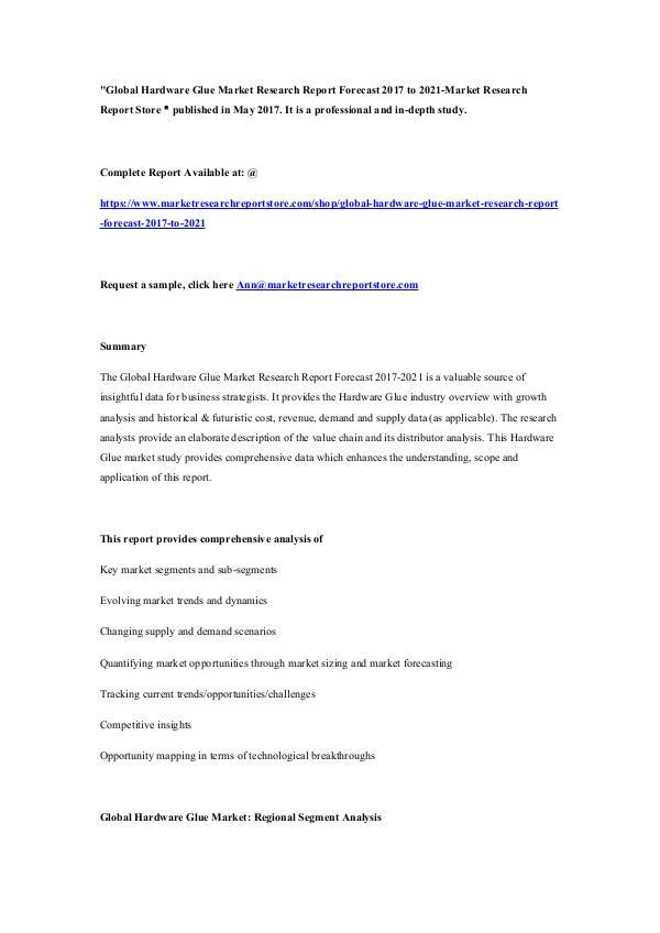 Global Hardware Glue Market Research Report Foreca