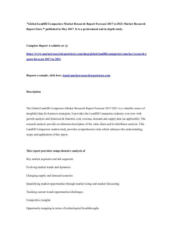 Global Landfill Compactors Market Research Report
