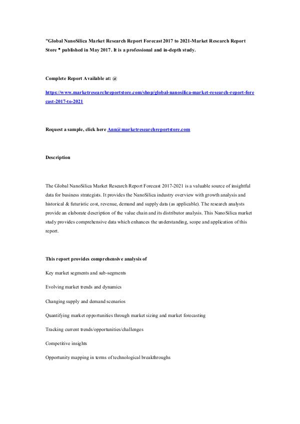 Global NanoSilica Market Research Report Forecast