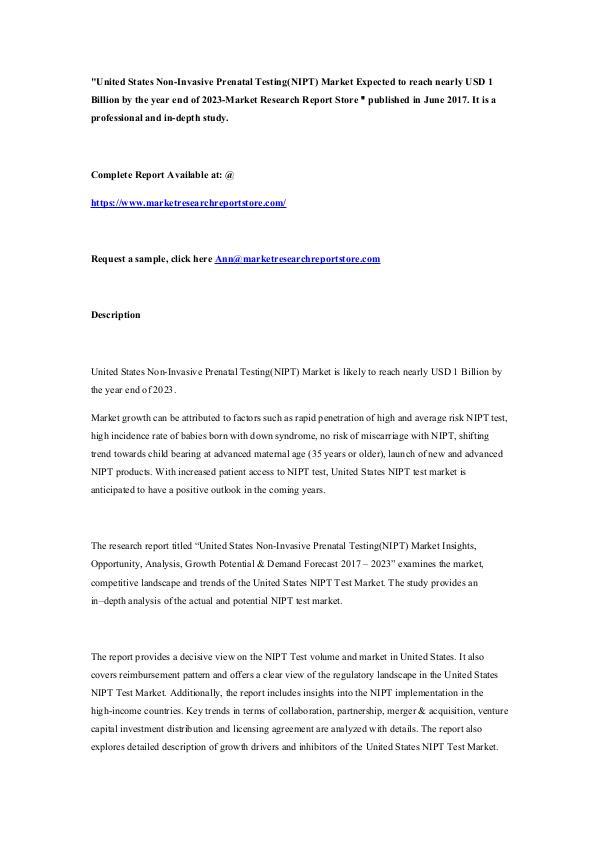 United States Non-Invasive Prenatal Testing(NIPT)