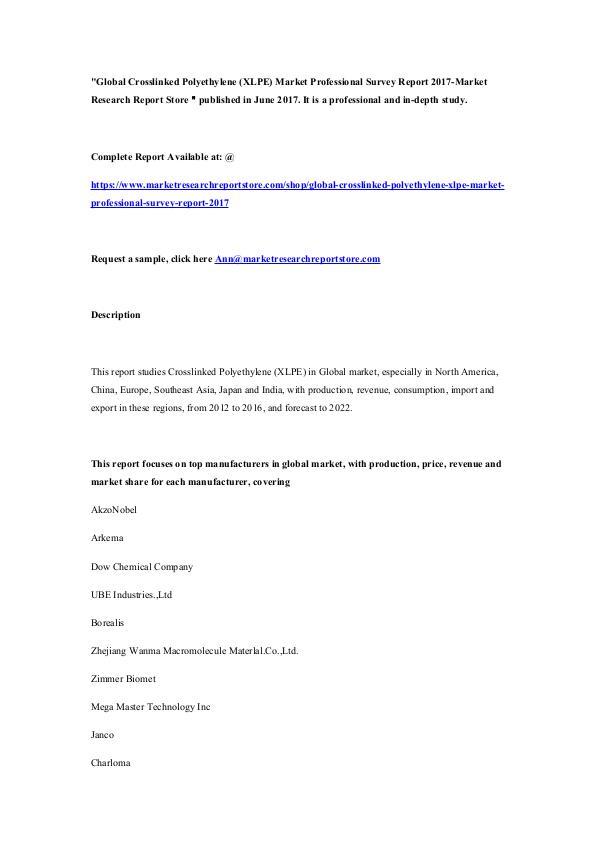 Global Crosslinked Polyethylene (XLPE) Market Prof