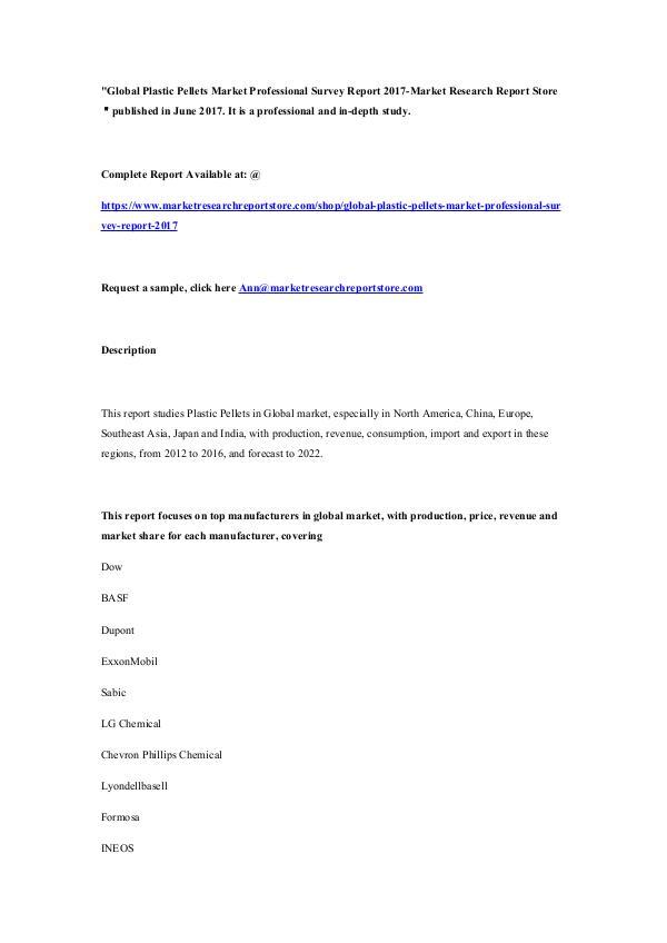 Market Research Report Store Global Plastic Pellets Market Professional Survey