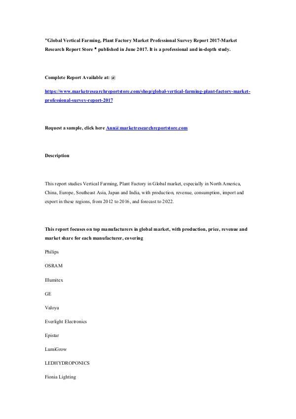Global Vertical Farming, Plant Factory Market Prof