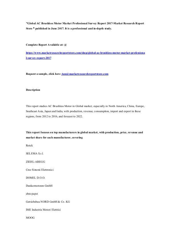 Global AC Brushless Motor Market Professional Surv