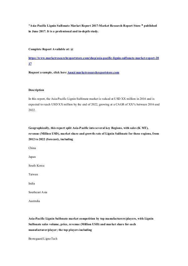 Asia-Pacific Lignin Sulfonate Market Report 2017-M