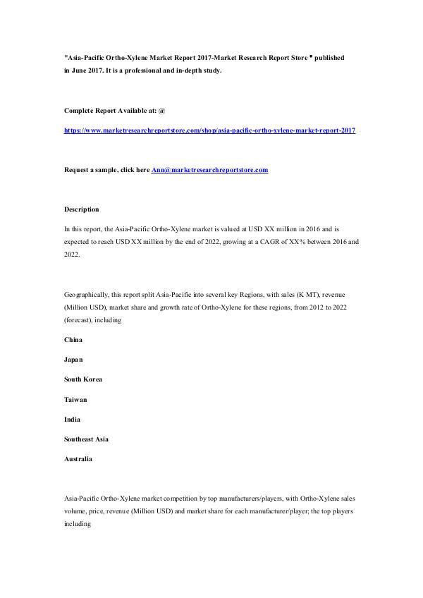 Asia-Pacific Ortho-Xylene Market Report 2017-Marke