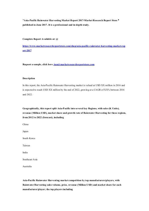 Asia-Pacific Rainwater Harvesting Market Report 20