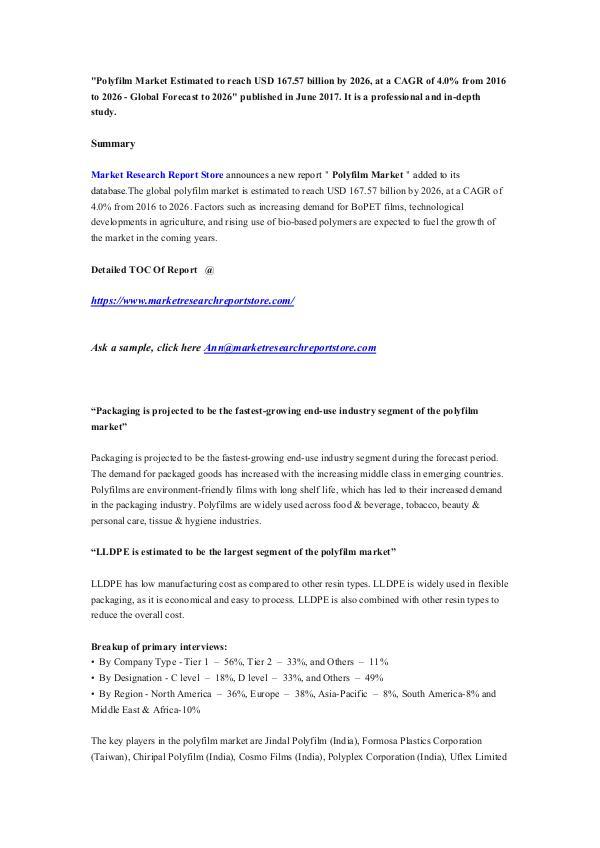 Market Research Report Store Polyfilm Market Estimated to reach USD 167.57 bill