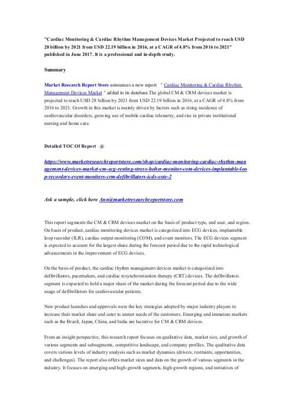 Cardiac Monitoring & Cardiac Rhythm Management Dev