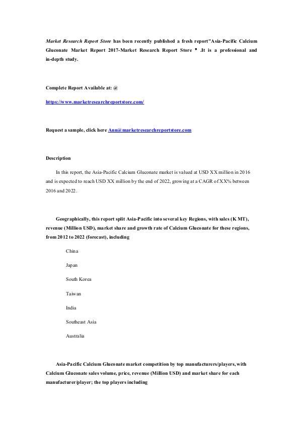 Asia-Pacific Calcium Gluconate Market Report 2017-