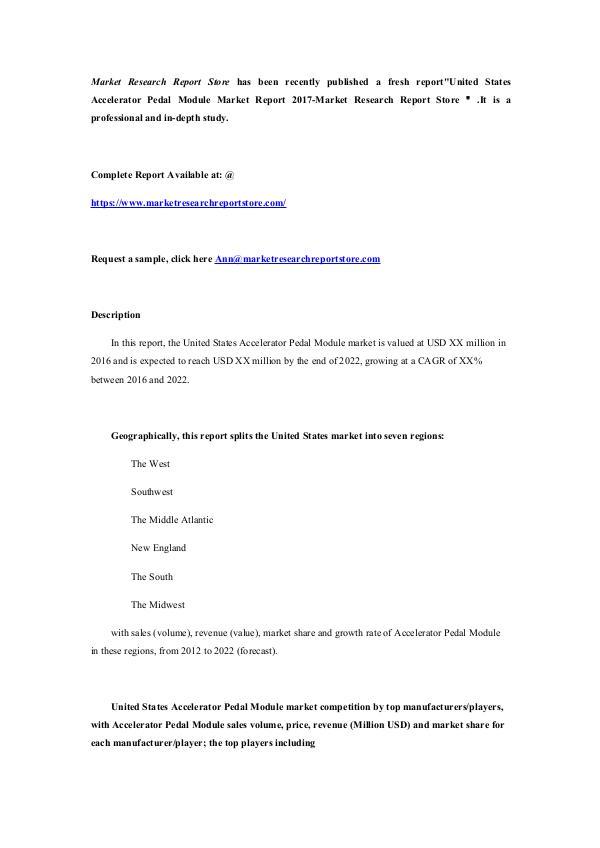 Market Research Report Store United States Accelerator Pedal Module Market Repo