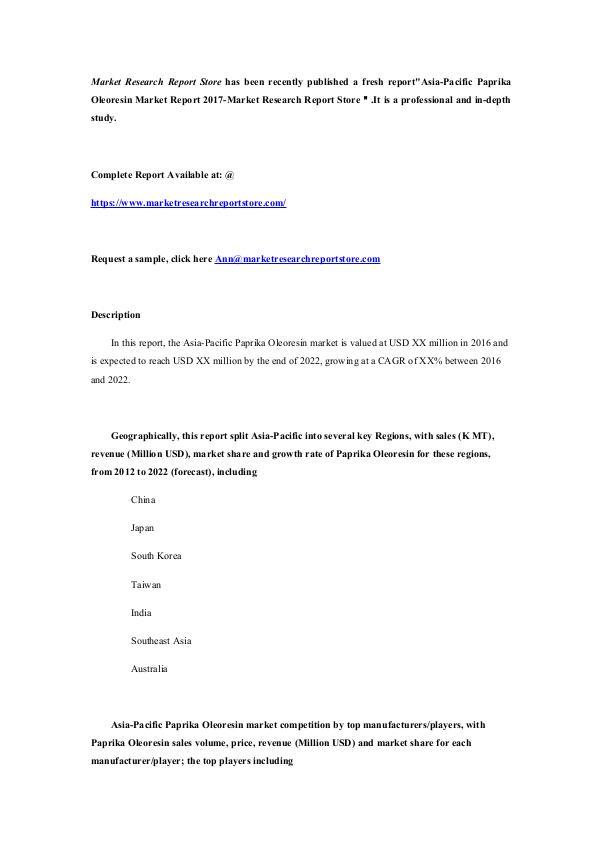 Asia-Pacific Paprika Oleoresin Market Report 2017-