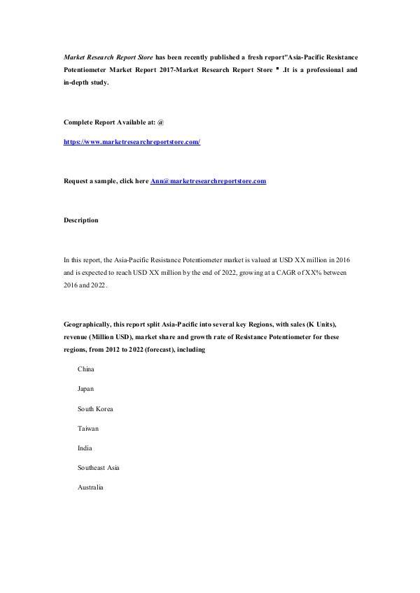 Market Research Report Store Asia-Pacific Resistance Potentiometer Market Repor
