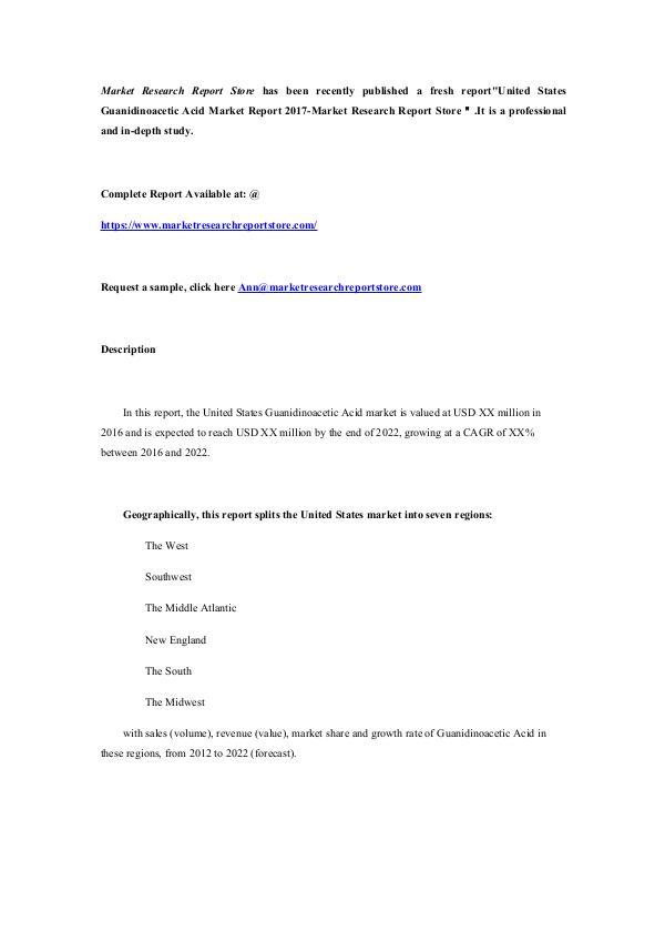 United States Guanidinoacetic Acid Market Report 2