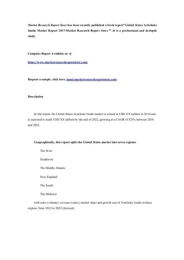 United States Artichoke Inulin Market Report 2017-