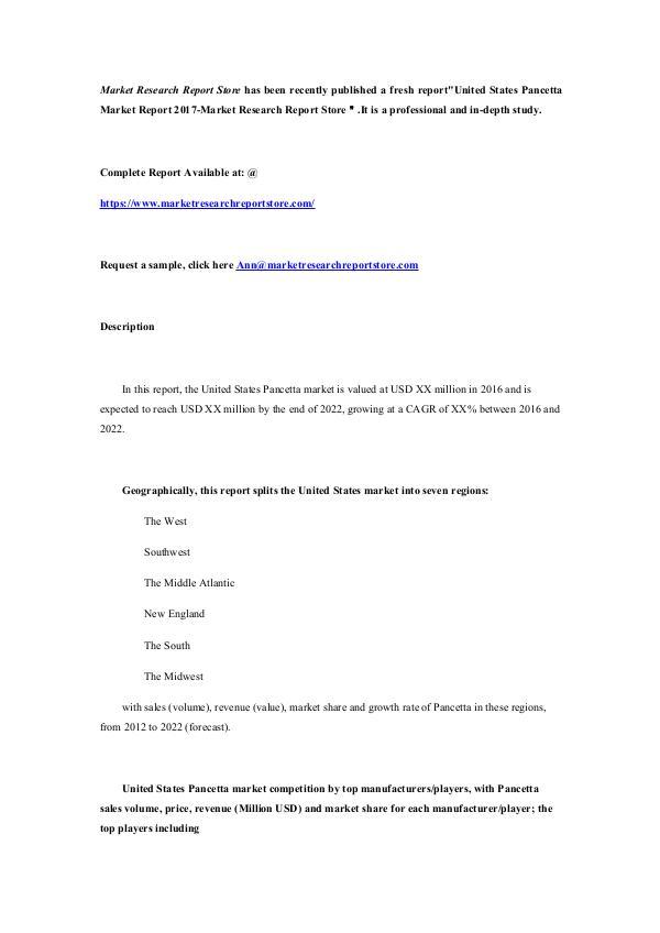 United States Pancetta Market Report 2017-Market R