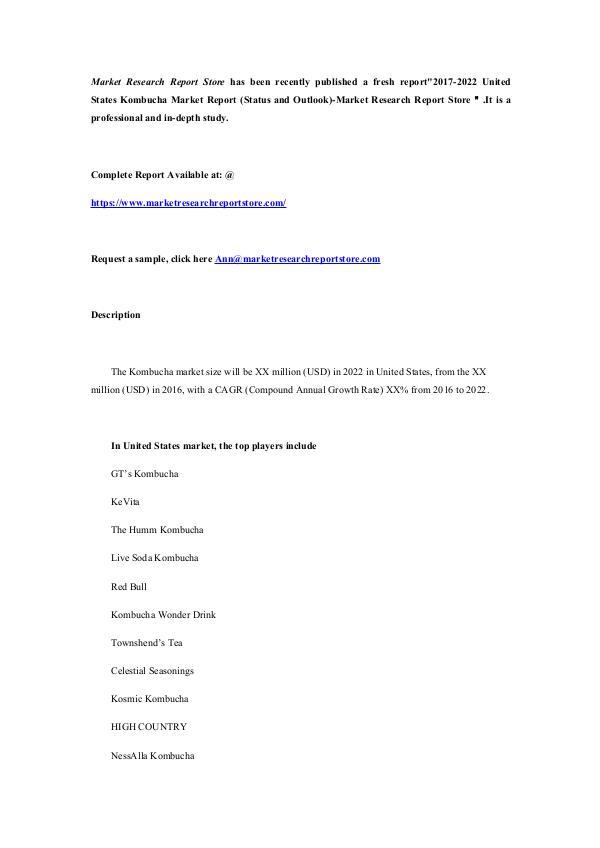 2017-2022 United States Kombucha Market Report (St
